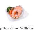 Grilled steak of salmon with vegetables on  white 59287854