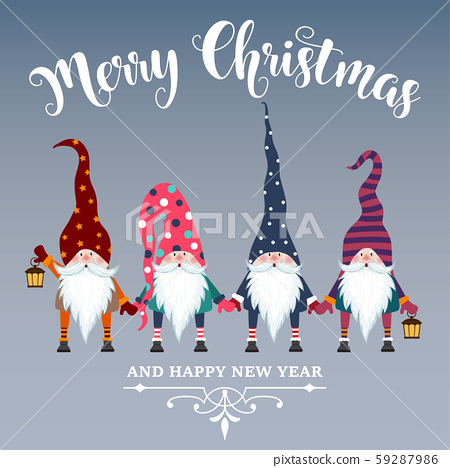 Beautiful flat design Christmas card with gnomes. 59287986