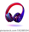 Black and purple headphones isolated on white background, realistic vector illustration. 59288504