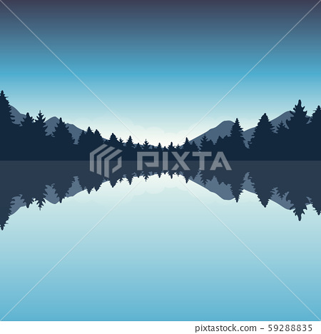 beautiful lake and blue pine forest nature landscape 59288835