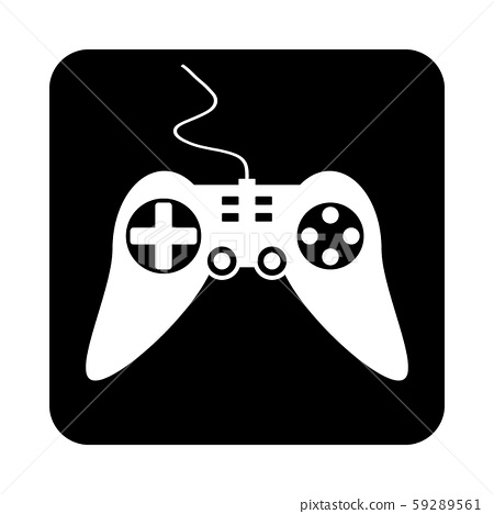 Game console icon on black. 59289561