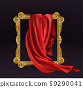 Red silk cloth cover wooden photo frame isolated 59290041