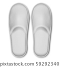 3D Vector Realistic White Detailed Blank Hotel Slippers Icon Closeup Isolated on White Background 59292340