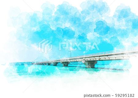 Miyakojima sea, watercolor style 59295182