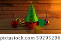 The Christmas tree on wood table 3d rendering image for christmas celebration content. 59295296