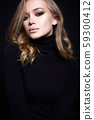 portrait of Beautiful young woman in black 59300412
