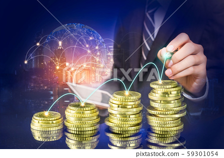 Business man pointing at growth graph and business 59301054