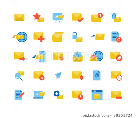 Email and Mail flat icon set. Vector and 59301724