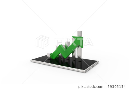 Green arrow and graph on mobile phone. Growing business concept.3D rendering. Isolated on white background. 59303154