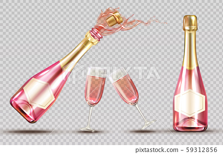 Pink champagne explosion bottle and wineglass set 59312856