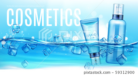 Cosmetics bottles floating in water with ice cubes 59312900