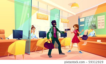 Armed criminal robbing city bank cartoon 59312929