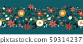 Winter autumn flowers seamless vector border. Florals and leaves pattern. Hand drawn holiday design 59314237