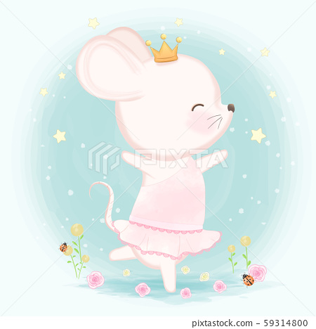 Cute mouse hand drawn animal illustration 59314800