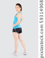 Beautiful portrait young asian woman in sport clothes with satisfied and confident isolated 59314968