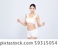 Beautiful portrait asian woman diet and slim with measuring breast and augmentation 59315054