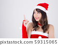 Beautiful portrait young asian woman Santa costume smiling present pointing something 59315065