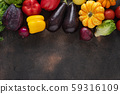 Healthy food concept. Fresh vegetables on dark 59316109