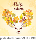 Beautiful sketch deer with autumn leaves. 59317399
