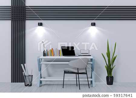 3D render of interior modern living room workspace with laptop computer 59317641