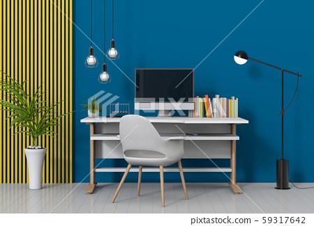3D render of interior modern living room workspace with desk and desktop computer 59317642