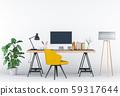 3D render of interior modern living room workspace with desk and desktop computer 59317644