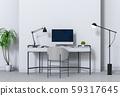 3D render of interior modern living room workspace with desk and desktop computer 59317645
