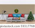 Christmas interior living room. 3d render 59317768