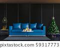 Christmas interior living room. 3d render 59317773