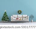 Christmas interior living room. 3d render 59317777