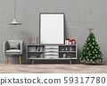 mock up poster frame Christmas interior living room. 3d rendering 59317780