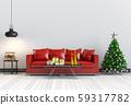 Christmas interior living room. 3d render 59317782