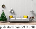Christmas interior living room. 3d render 59317784