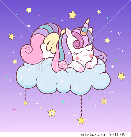 Cute unicorn sleeping on cloud with stars. Vector kawaii unicorn with wings sleep time. Illustration of little adorable unicorn cartoon character in pastel flat colors.  59319495