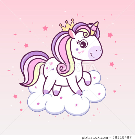 Kawaii Unicorn Princess In Crown On Cloud Stock Illustration 59319497 Pixta Cute cartoon cats character with crowns pack. https www pixtastock com illustration 59319497