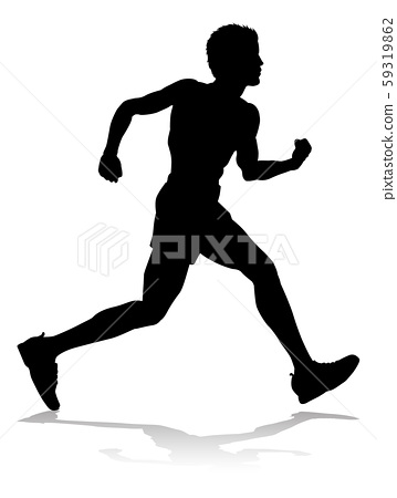 Runner Racing Track and Field Silhouette 59319862