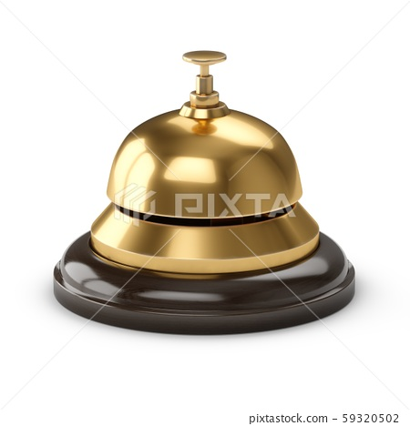 3D Rendering Reception bell isolated on white 59320502