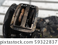 Burning toaster. Toaster with two slices of toast 59322837