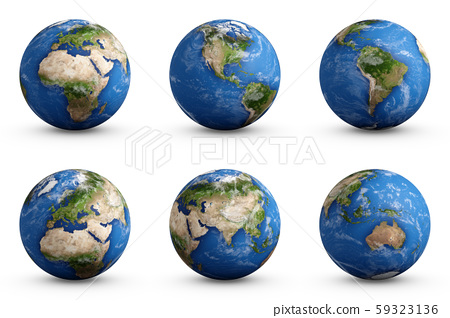 3D Rendering set of Planet Earth isolated on white 59323136