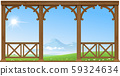 Wooden porch hills and mountains 59324634