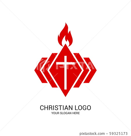 Christian church logo. Bible symbols. The cross of the Lord and Savior Jesus Christ and the flame are the symbol of the Holy Spirit. 59325173