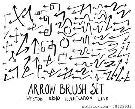 Set of arrow brush illustration Hand drawn Sketch 59325932