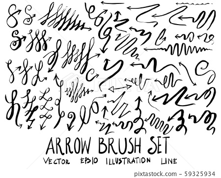 Set of arrow brush illustration Hand drawn Sketch 59325934