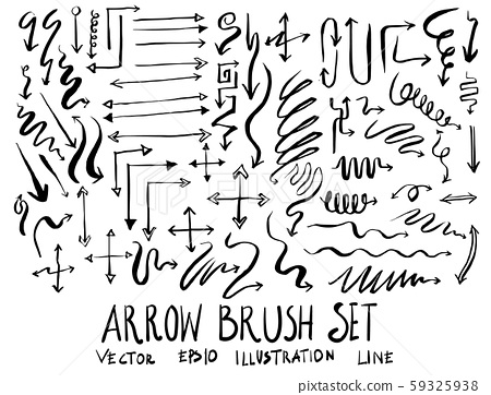 Set of arrow brush illustration Hand drawn Sketch 59325938