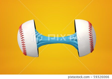 3d rendering of baseball ball broken in two parts with blue sticky slime inside on yellow background 59326066