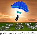 The businessman falling into trap on parachute 59326719