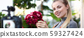 Smiling Blogger Touching Red Hydrangea Photo 59327424