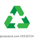 Recycling symbol. Environmental or ecological symbol. Simple flat vector icon. Green sign 59330724