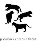 Wild Tiger Silhouettes Isolated Vector Set. Safari Animals Clipart 59330744