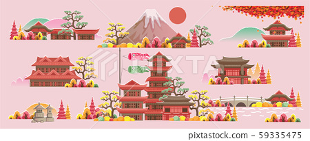 Japan style building. Beautiful houses and temples in Japan style. Panorama of the building. Autumn scenery. The scenery of japan during the fall season. Posters and postcards japanese for tourism. 59335475